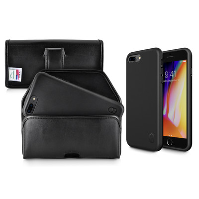 iPhone 8 Plus Phone Case and Holster with Black Belt Clip Set, Black