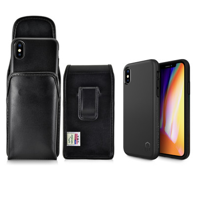 iPhone X Phone Case and Vertiacl Holster with Black Belt Clip Set, Black
