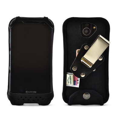 Kyocera DuraForce PRO 2 (6910 6900) Fitted Phone Case Black Nylon Metal Clip Turtleback