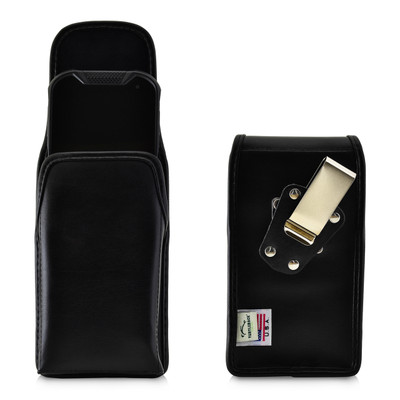 Kyocera DuraForce PRO 2 (6910 6900) Vertical Holster Belt Case Black Leather Pouch with Heavy Duty Rotating Belt Clip