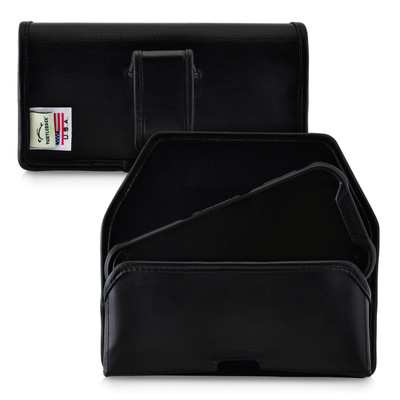 Kyocera DuraForce PRO 2 (6910 6900) Belt Case Holster Executive Metal Belt Clip Black Leather Pouch, Horizontal
