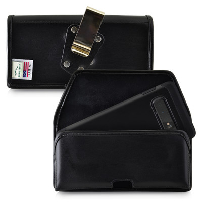 Galaxy S10+ Leather Holster Case Metal Belt Clip
