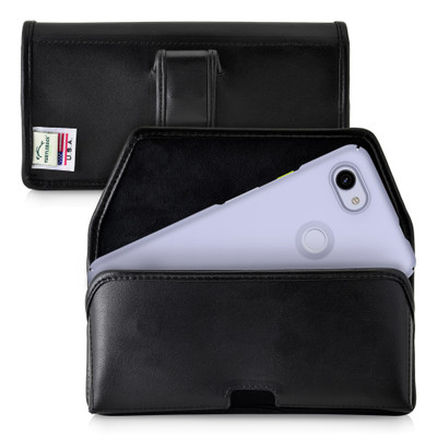 Google Pixel 3A (2019) Belt Case Black Leather Pouch with Executive Belt Clip, Horizontal