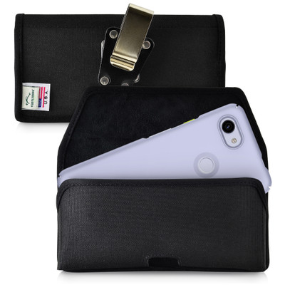 Google Pixel 3A (2019) Belt Holster Black Nylon Pouch with Heavy Duty Rotating Belt Clip, Horizontal