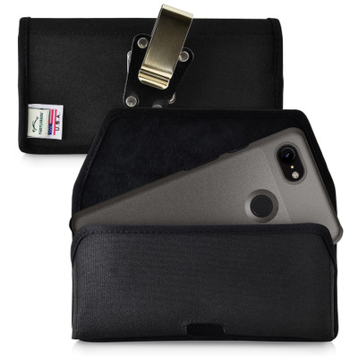 Google Pixel 3 (2019) Belt Holster Black Nylon Pouch with Heavy Duty Rotating Belt Clip, Horizontal
