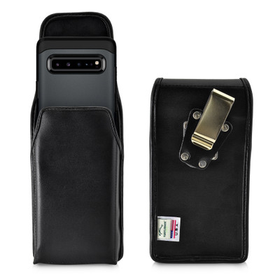 Samsung Galaxy S10 5G (2019) Vertical Holster Black Leather Pouch with Heavy Duty Rotating Belt Clip