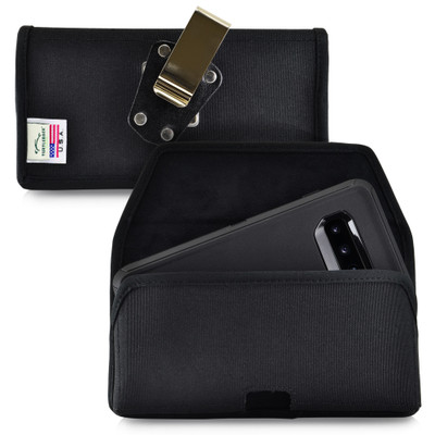 Galaxy S10+ Plus Fits with OTTERBOX DEFENDER Black Nylon Holster Pouch Rotating Belt Clip Horizontal