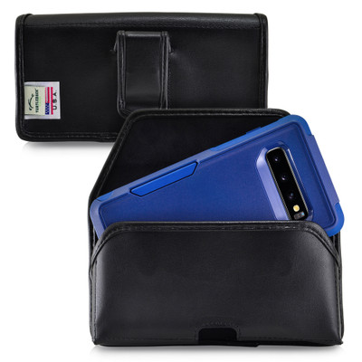 Galaxy S10 Fits with OTTERBOX COMMUTER Black Leather Belt Case Pouch Executive Belt Clip Horizontal