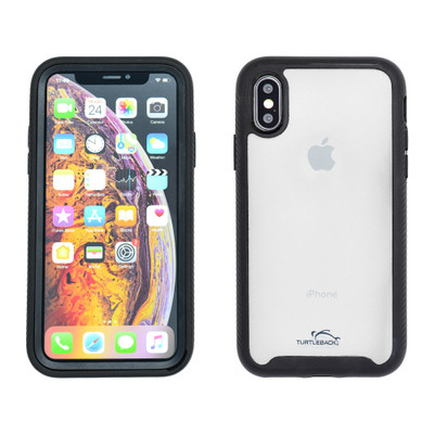 Tough Defense Drop Tested Case for Apple iPhone X + XS 5.8 Inch, Military Grade, Anti-Scratch Ultra Clear Back, Black Sides