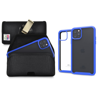 Tough Defense Combo for iPhone 11 Pro Max, Blu/Clr Drop Test Case + Hoz Nylon Pouch, Metal Clip