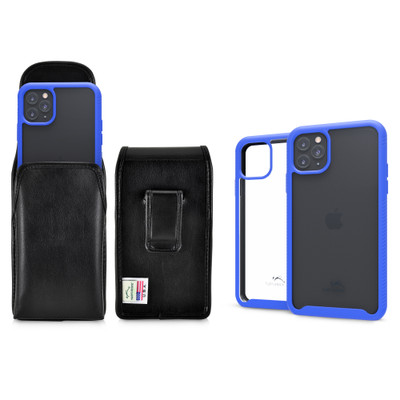 Tough Defense Combo for iPhone 11 Pro Max, Blu/Clr Drop Test Case + Vertical Pouch, Leather Clip