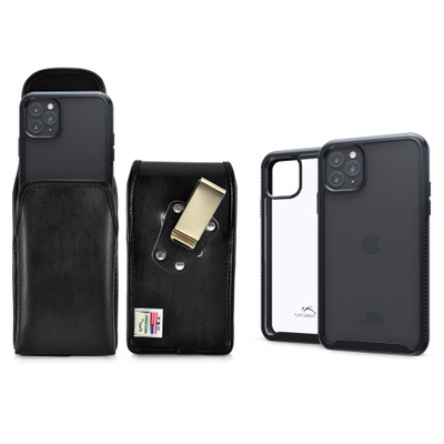 Tough Defense Combo for iPhone 11 Pro Max, Blk/Clr Drop Test Case + Vertical Pouch, Metal Clip