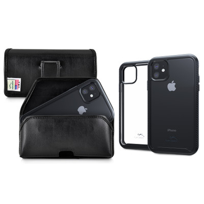 Tough Defense Combo for iPhone 11, Black/Clear Drop Test Case + Horizontal Pouch, Leather Clip