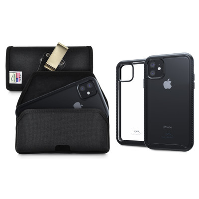Tough Defense Combo for iPhone 11, Black/Clear Drop Test Case + Hoz Nylon Pouch, Metal Clip