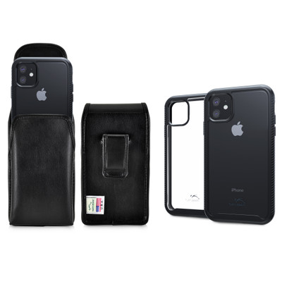Tough Defense Combo for iPhone 11, Blak/Clear Drop Test Case + Vertical Pouch, Leather Clip