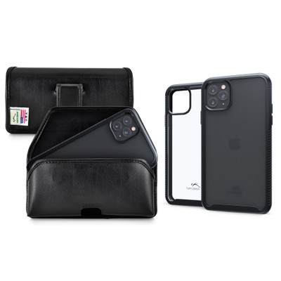Tough Defense Combo for iPhone 11 Pro, Blk/Clr Drop Test Case + Horizontal Pouch, Leather Clip