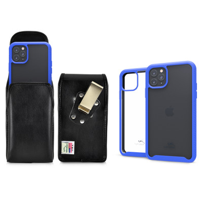 Tough Defense Combo for iPhone 11 Pro, Blu/Clr Drop Test Case + Vertical Pouch, Metal Clip