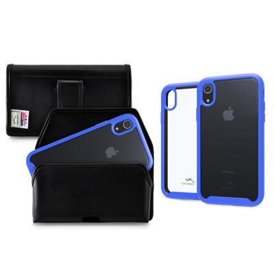 Tough Defense Combo for iPhone XR, Blue/Clear Drop Test Case + Horizontal Pouch, Leather Clip