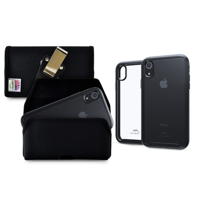 Tough Defense Combo for iPhone XR, Black/Clear Drop Test Case + Hoz Nylon Pouch, Metal Clip