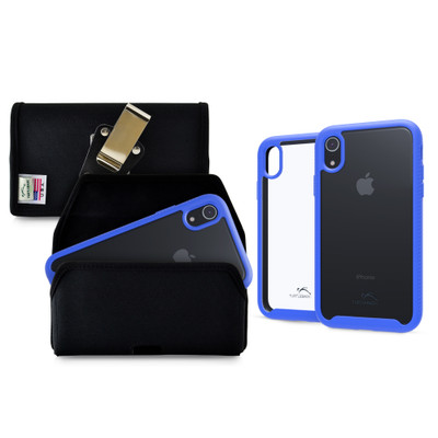 Tough Defense Combo for iPhone XR, Blue/Clear Drop Test Case + Hoz Nylon Pouch, Metal Clip