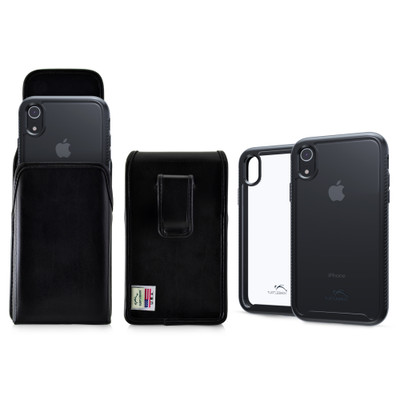 Tough Defense Combo for iPhone XR, Black/Clear Drop Test Case + Vertical Pouch, Leather Clip
