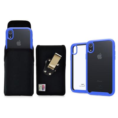 Tough Defense Combo for iPhone XR, Blue/Clear Drop Test Case + Ver Nylon Pouch, Metal Clip