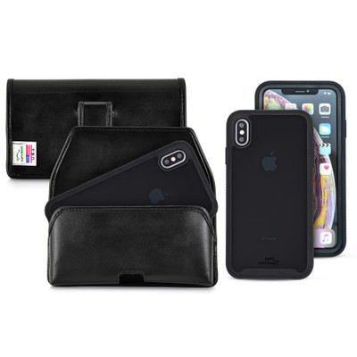 Tough Defense Combo for iPhone XS Max, Blk/Clr Drop Test Case + Horizontal Pouch, Leather Clip