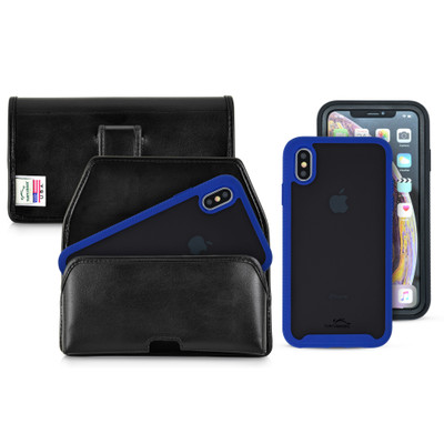 Tough Defense Combo for iPhone XS Max, Blu/Clr Drop Test Case + Horizontal Pouch, Leather Clip