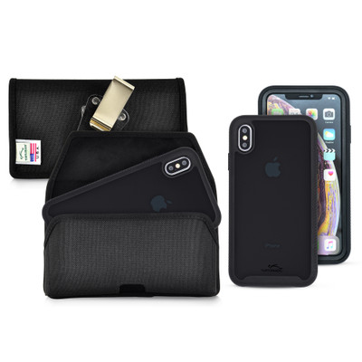 Tough Defense Combo for iPhone XS Max, Blk/Clr Drop Test Case + Hoz Nylon Pouch, Metal Clip