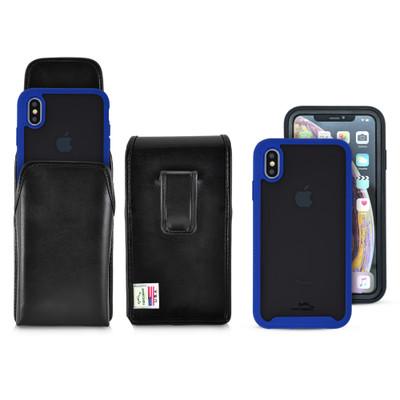 Tough Defense Combo for iPhone XS Max, Blu/Clr Drop Test Case + Vertical Pouch, Leather Clip