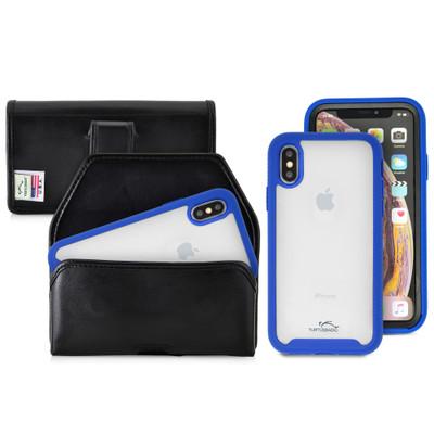 Tough Defense Combo for iPhone X & XS, Blu/Clr Drop Test Case + Horizontal Pouch, Leather Clip