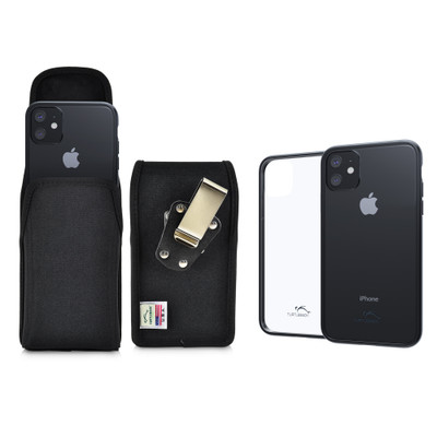 Hybrid Case Combo for iPhone 11 6.1, Clear/Black Case + Vertical Nylon Pouch, Metal Clip