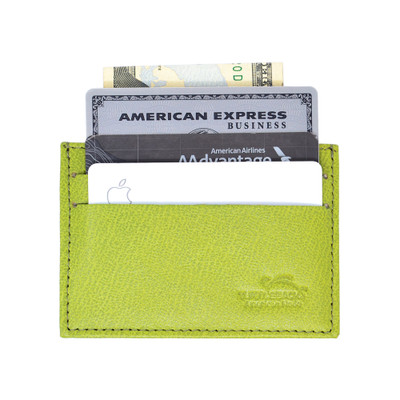 Leather Front Pocket Wallet with RFID Blocking in LIME