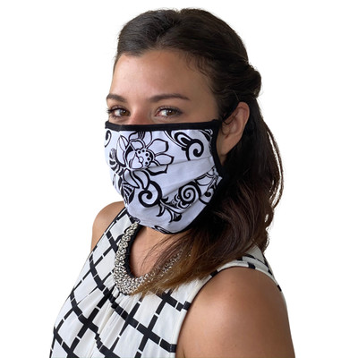 Face Mask in Black Floral Print Washable Reusable, Cotton Pocket, 2 Ply, Nose Seal, Adjustable Ear Loops (set of 2)