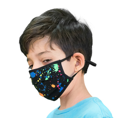 Child's Face Mask Paint Ball Design Washable Reusable, Cotton Pocket, 2 Ply, Nose Seal, Adjustable Ear Loops (set of 2)