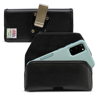 Galaxy S20 S21 w/Otterbox Commuter Belt Holster Black Leather Pouch Rotating Belt Clip, Horizontal