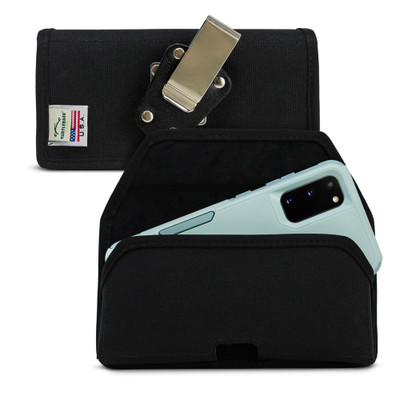 Galaxy S20 S21 w/Otterbox Commuter Belt Holster Black Nylon Pouch Rotating Belt Clip Horizontal