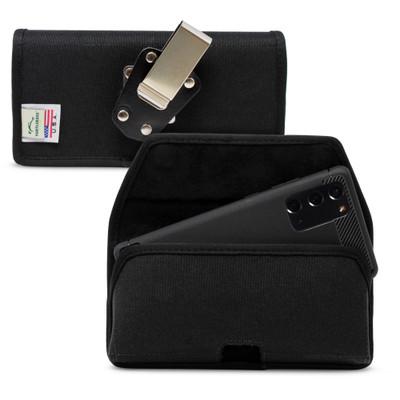 Samsung Galaxy Note 20 5G (2020) Belt Holster Black Nylon Pouch with Heavy Duty Rotating Belt Clip, Horizontal