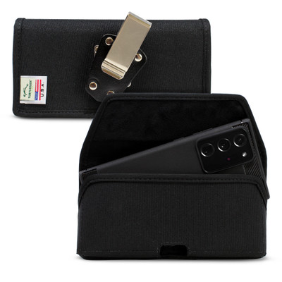 Samsung Galaxy Note 20 Ultra Belt Holster Black Nylon Pouch with Heavy Duty Rotating Belt Clip, Horizontal