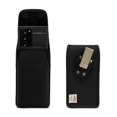 Samsung Galaxy Note 20 Ultra Vertical Holster Black Nylon Pouch with Heavy Duty Rotating Belt Clip