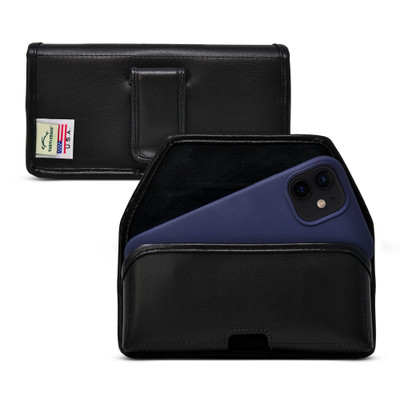 iPhone 12 & 12 Pro Belt Holster Case Black Leather Pouch Executive Belt Clip Horizontal