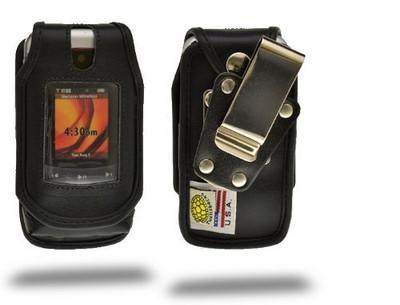 Motorola V750 Adventure Heavy Duty Black Leather Case with Rotating Belt Clip