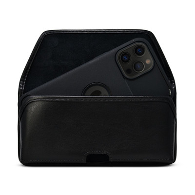 iPhone 12 Pro Max Belt Holster Case Black Leather Pouch Executive Belt Clip Horizontal