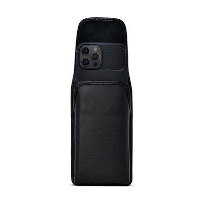 iPhone 12 Pro Max, Black Vertical Belt Holster With Leather Pouch & Executive Belt Clip