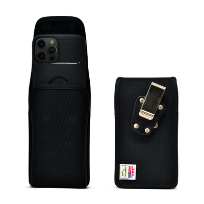 iPhone 12 Pro Max Vertical Holster Case Black Nylon Pouch Heavy Duty Rotating Clip