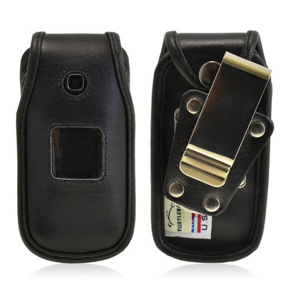 Samsung Denim A207 Heavy Duty Black Leather Phone Case with Rotating Metal Belt Clip