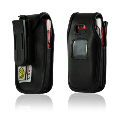 Samsung A437, A436 Executive Black Leather Case Phone Case with Ratcheting Belt Clip