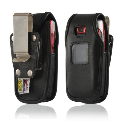 Samsung A437, A436 Heavy Duty Black Leather Phone Case with Rotating Metal Belt Clip