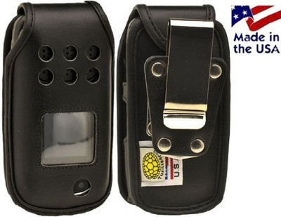Samsung Rugby 3 A997 Black Leather Fitted Flip Phone Case with Rotating Metal Belt Clip