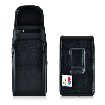 Blackberry Classic Q20 Vertical Leather Holster, Black Belt Clip